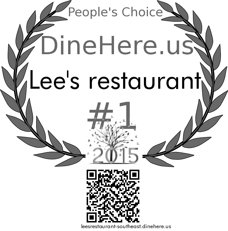 Lee's restaurant DineHere.us 2015 Award Winner